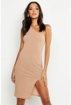 Womens Camel Tall One Shoulder Split Ribbed Mini Dress