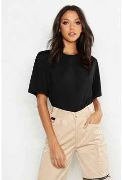 Black Tall Neon Rib Oversized T-Shirt