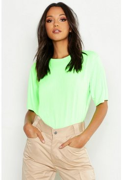 Tall T-shirt oversize a coste a colori fluo, Lime fluo