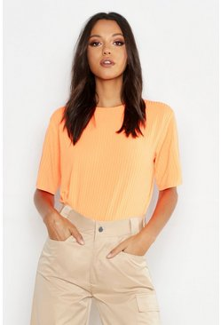 Neon-orange Tall Neon Rib Oversized T-Shirt