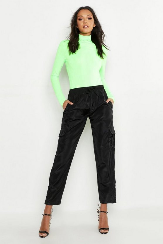 Womens Neon-lime Tall Neon Rib Roll Neck Top