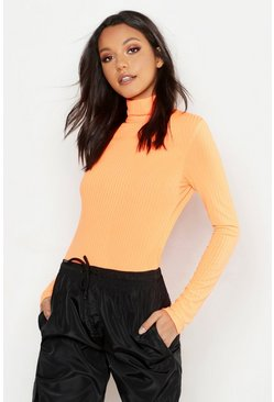 Neon-orange Tall Neon Rib Turtleneck Top