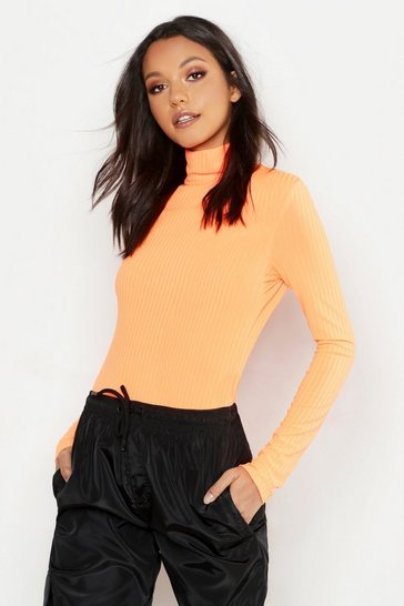 Neon-orange Tall Neon Rib Roll Neck Top