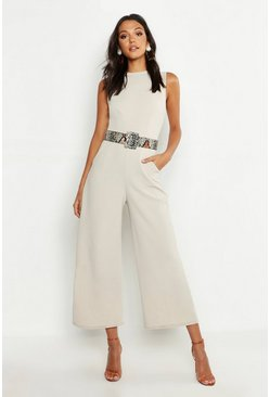 Tall Eleganter Jumpsuit, Steingrau