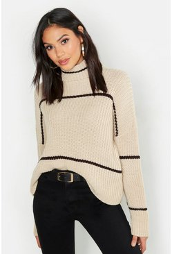 Womens Stone Tall Roll Neck Stripe Crop Jumper