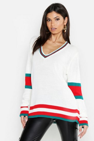 Womens Cream Tall Sports Stripe V Neck Jumper