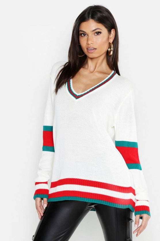 Womens Cream Tall Sports Stripe V Neck Sweater