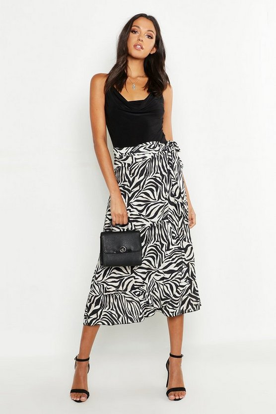 Womens Black Tall Zebra Print Wrap Skirt