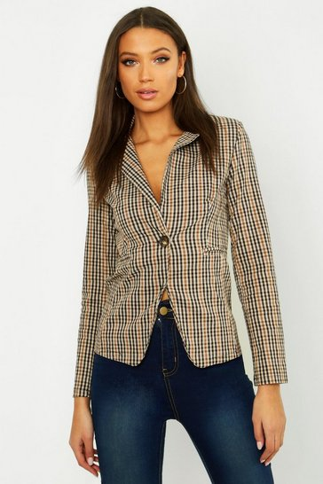 Womens Tan Tall Check Woven Blazer