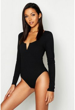 Womens Black Tall V Bar Rib Bodysuit