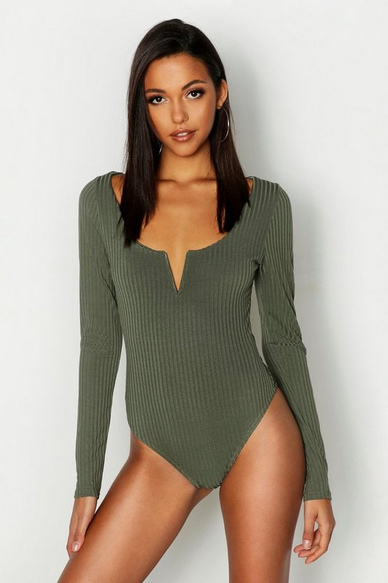 Womens Khaki Tall V Bar Rib Bodysuit
