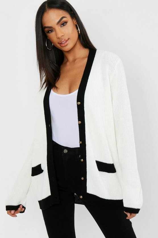 Womens Cream Tall Gold Button Through Cardigan