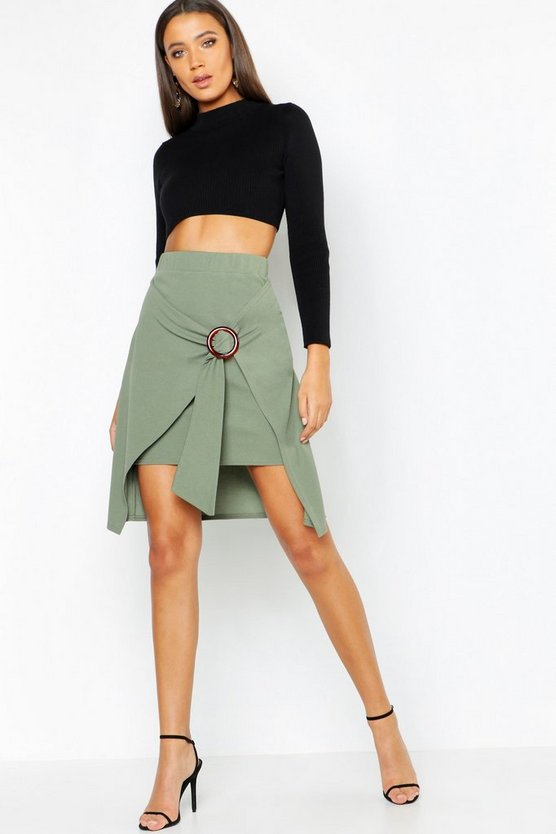 Tall O Ring Belted Asymmetric Skirt