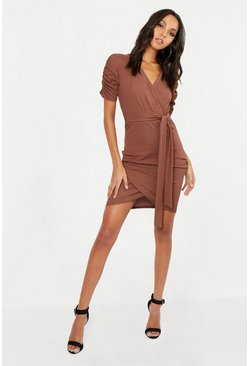 Womens Chocolate Tall Ruched Sleeve Dress