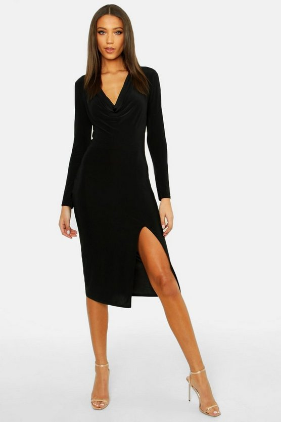 Womens Black Tall Cowl Neck Midi Dress