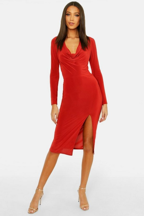 Womens Rust Tall Cowl Neck Midi Dress