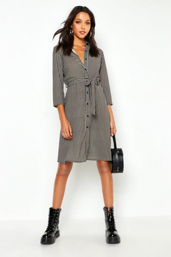 Tall Midi Stripe Shirt Dress