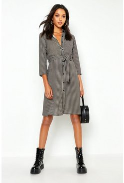 Womens Gold Tall Midi Stripe Shirt Dress