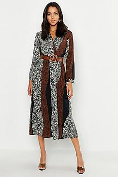 Tall Animal Print Wrap Midi Dress