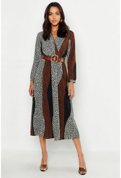 Womens Tan Tall Animal Print Wrap Midi Dress
