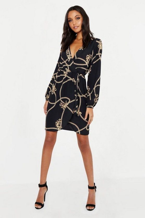 Womens Black Tall Chain Mixed Print Wrap Midi Dress