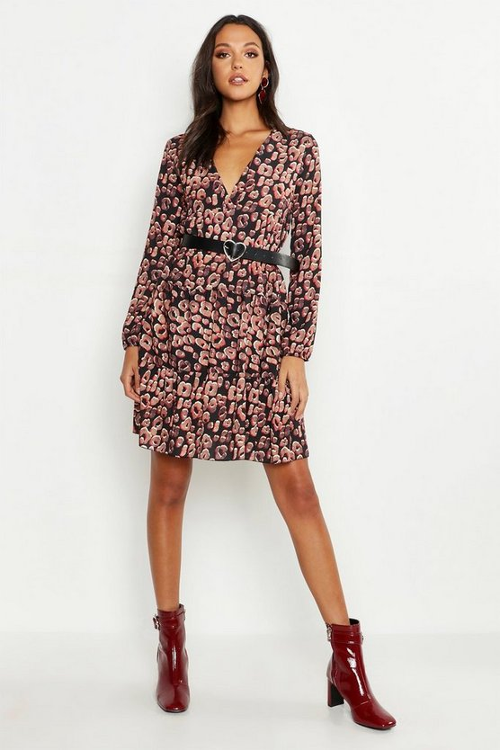 Tan Tall Leopard Print Smock Dress