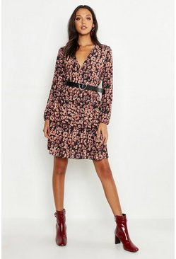 Tall Plus Smok-Kleid mit Leopardenmuster, Lohbraun, Damen