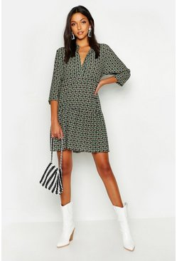 Womens Green Tall Geo Print Smock Dress