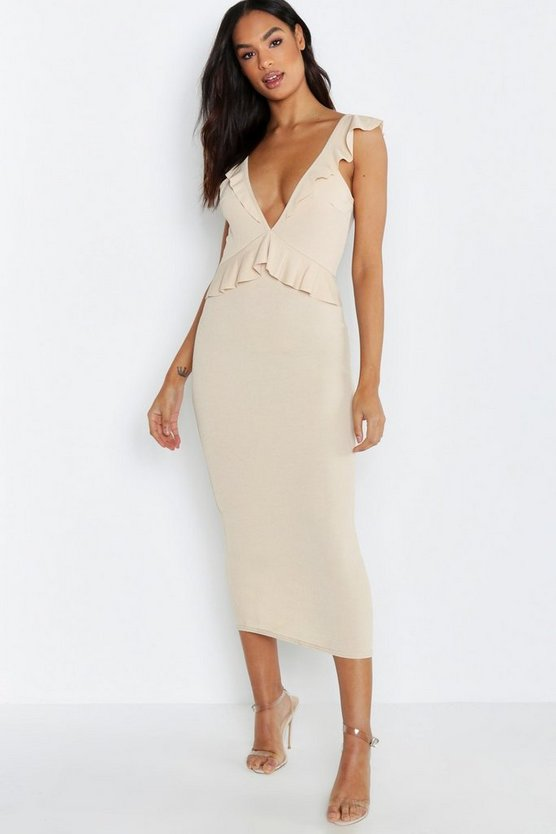 Tall Ruffle Plunge Bodycon Dress