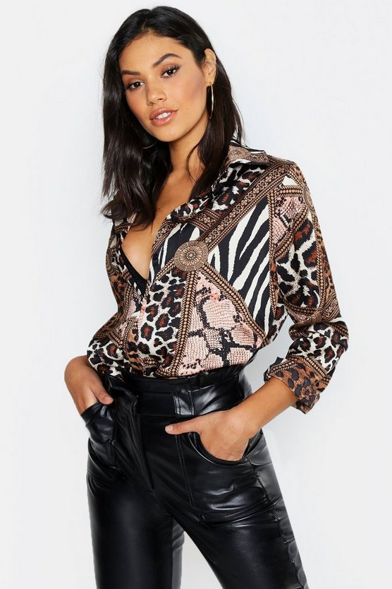 Tall Chain & Animal Print Shirt