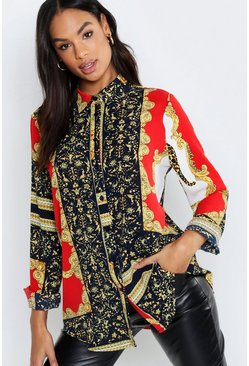 Womens Black Tall Scarf Print Shirt