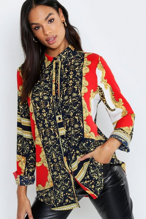 Tall Scarf Print Shirt