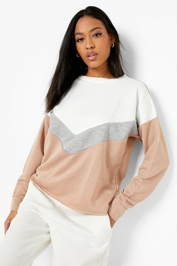 Stone Tall Chevron Colour Block Sweat