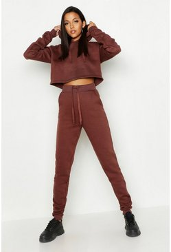Womens Chocolate Tall Hooded Crop Lounge Set