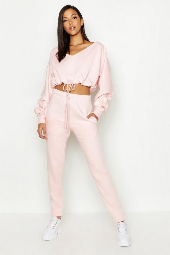 Womens Pink Tall Slouchy Off The Shoulder Lounge Set