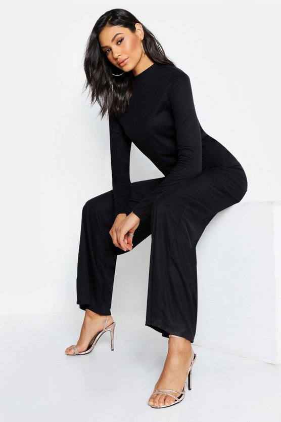 Womens Black Tall Long Sleeve Knitted Rib Co-Ord