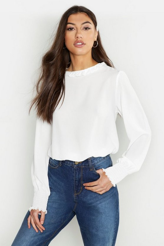 Tall Woven Shirred Detail Frill Neck Top