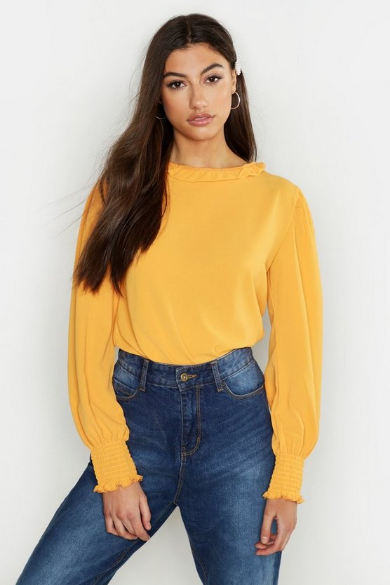 Mustard Tall Woven Shirred Detail Frill Neck Top