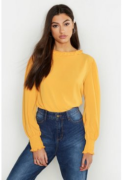 Womens Mustard Tall Woven Shirred Detail Frill Neck Top
