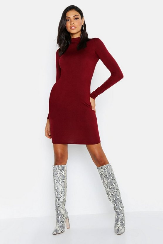 Tall High Neck Basic Bodycon Dress