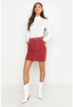 Womens Rust Tall Contrast Stitch Denim Mini Skirt