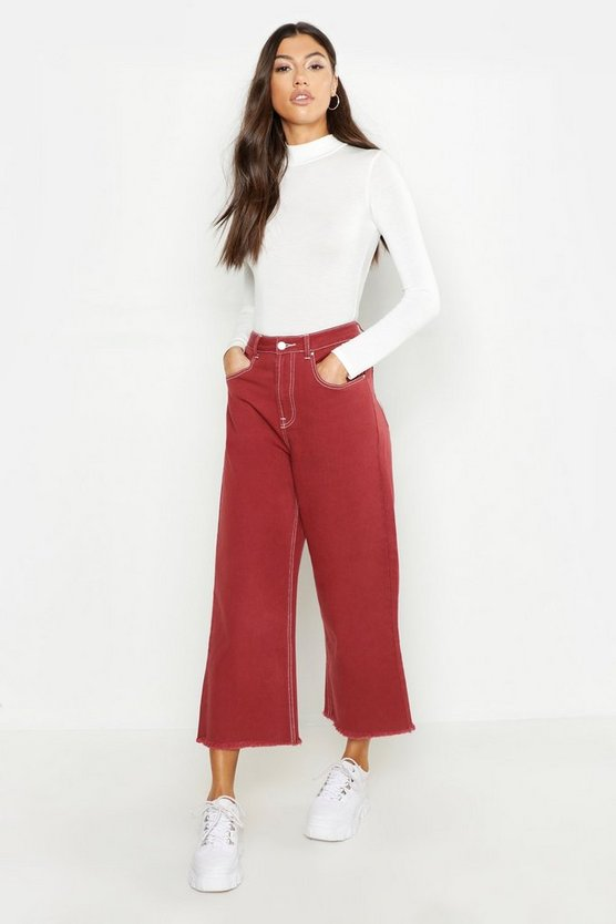 Rust Tall Contrast Stitch Wide Leg Culotte