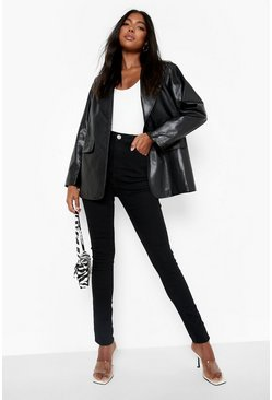 "Black Tall High Waist Skinny Jean 35"""" Leg"