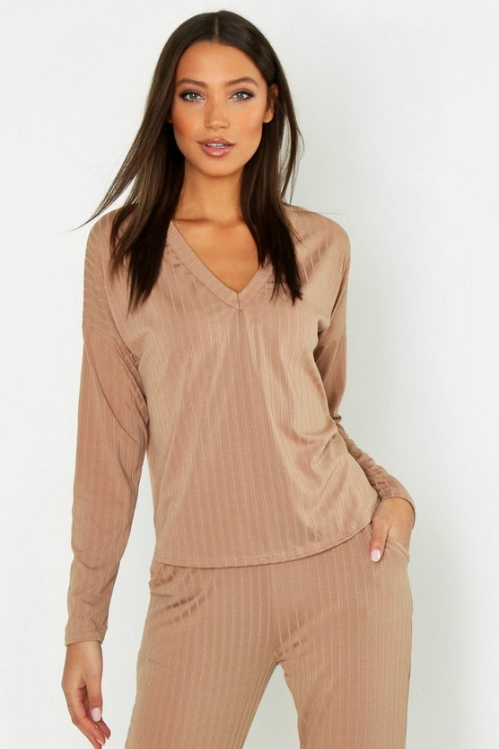 Womens Camel Tall V Neck Soft Rib Sweater