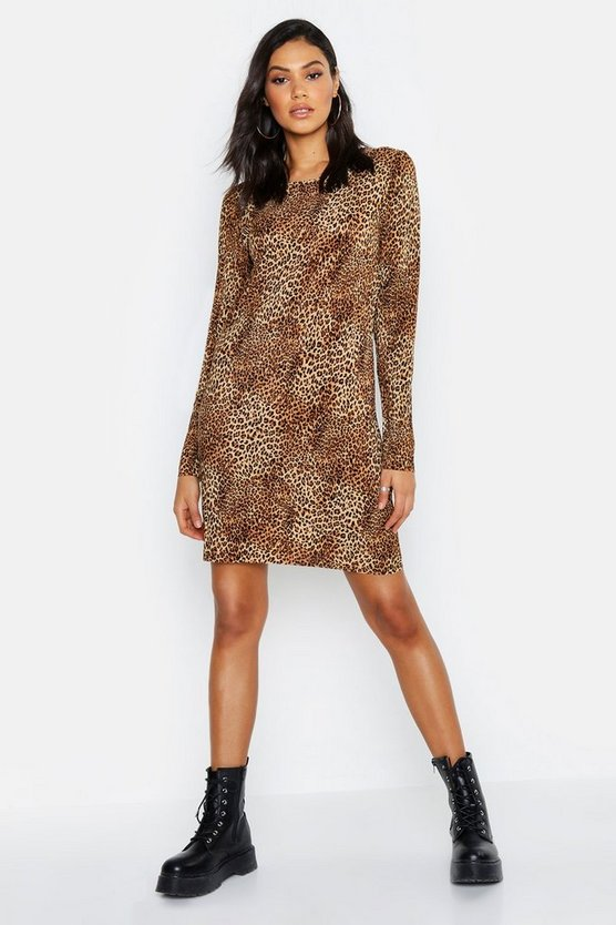 Womens Tan Tall Leopard Print Pleated Shift Dress
