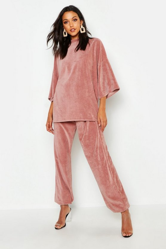 Womens Rose Tall Oversized Velour Tee