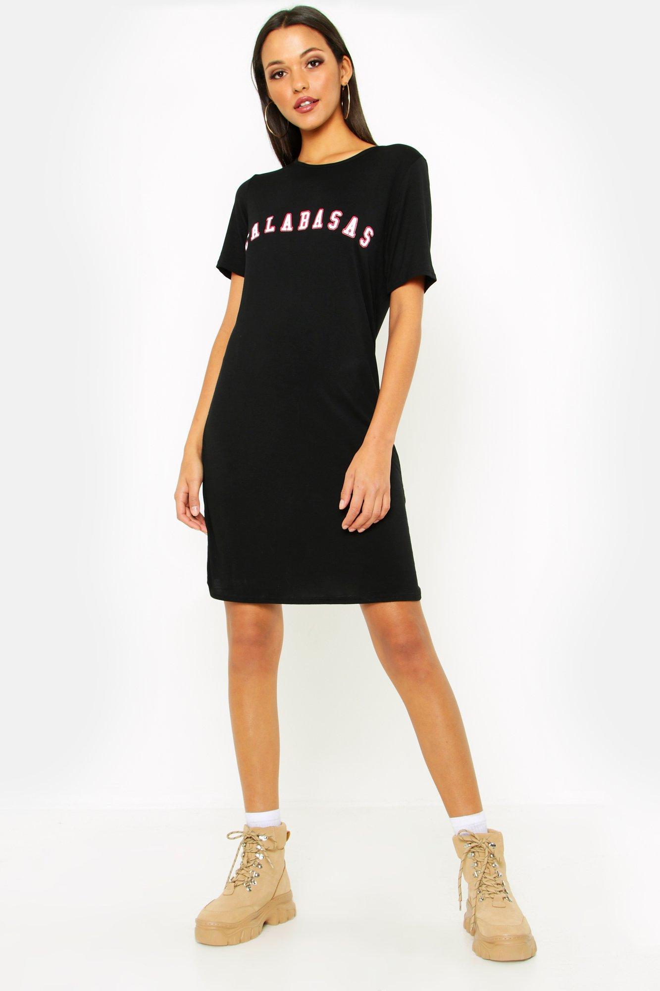 Tall Calabasas Slogan T-Shirt Dress