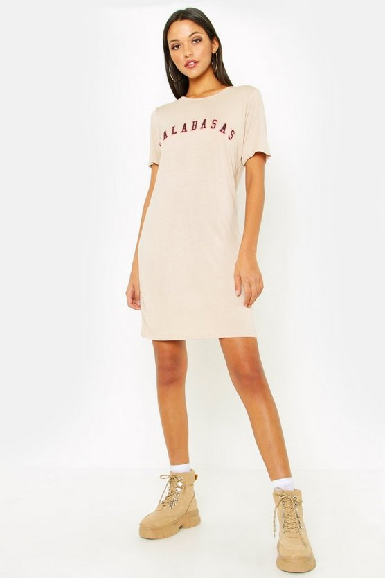 Tall Calabasas Slogan T-Shirt Dress