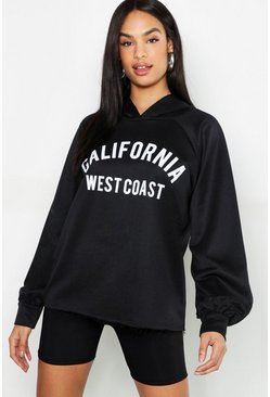 Sweat à capuche à slogan California Tall, Noir, Femme