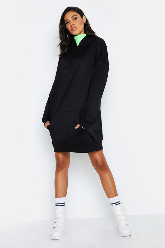 Womens Black Tall Oversized Hooded Sweat Dress